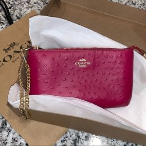 COACH Lg Ostrich Embossed Wristlet NWT&Gift Ready!